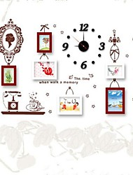 Photo Frame Set of 6  with Wall Sticker & Wall Clock