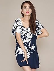 Women's New Summer  Mixed Colors Elastic Big Yards Short Sleeve Dress(Cropped Random)