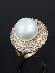 Ring Men's Imitation Pearl Brass Brass As the Picture The color of embellishments are shown as picture.
