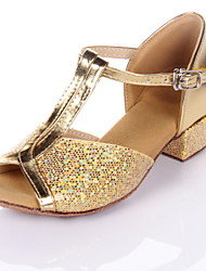 Non Customizable Women's/Kids' Dance Shoes Latin/Ballroom Leatherette Chunky Heel Silver/Gold