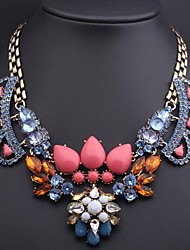 Women's Luxury Colored Crystal Glass Gemstone Necklace