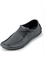 Men's Spring Summer Fall Rubber Leather Casual Flat Heel Lace-up Grey Black Brown