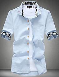 Men's Solid Casual Shirt,Linen Short Sleeve Blue / Green / White