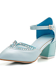Women's Summer Heels / Pointed Toe / Comfort PU Office & Career / Casual Chunky Heel Rhinestone / Crystal / Buckle Blue / Pink / White