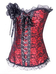 Women Overbust Corset Nightwear Jacquard Lace / Polyester White / Purple / Red / Black Women's