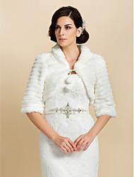 Élégant manches 3/4 en fausse fourrure mariée mariage / partie vestes / enveloppements