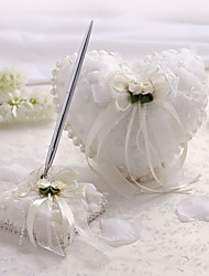 Sweet Heart Satin And Tulle Wedding Ring Pillow With Imitation Pearls And Flowers