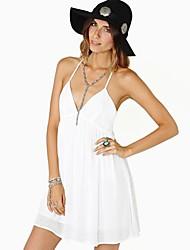 Глубокий V-образным вырезом спинки платье RICHCOCO Женская высшего качества