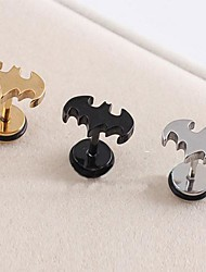 Lureme®316L Surgical Titanium Steel Electroplating Bat Single Stud Earrings (Random Color)