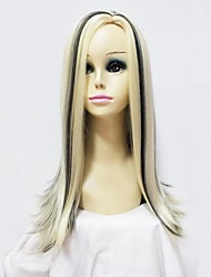 Capless Synthetic Long  Mixed Color No Bang Synthetic Full Wig