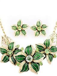 fleur émail boucles d'oreilles en alliage de femmes Ailian collier