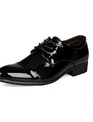 Men's Spring Summer Fall Comfort Novelty Moccasin Leather Patent Leather Office & Career Casual Party & Evening Low Heel Lace-up Black