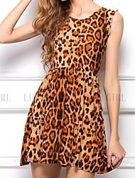 Sexy Leopard Hot New Fashion Summer Damen Print Bodycon Seidenkleid S / M / L / XL