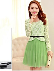 Women's Dress Above Knee Long Sleeve Green Spring / Fall