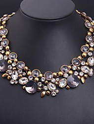 Women's Statement Necklaces Crystal Gemstone Alloy Statement Jewelry Luxury Jewelry Purple Jewelry
