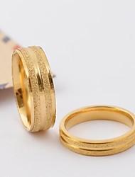 Anéis clássicos Casal Ouro Scrub Stripe Titanium Aço