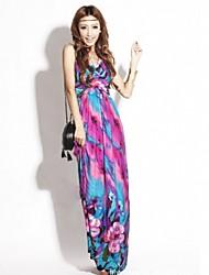 MuDiNa  Women's Europe Elegant Slim Fit Bohemia Long Dress(Screen Color)