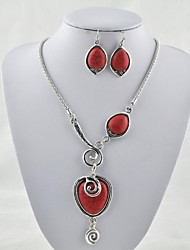 Vintage Look Tibetan Alloy Antique Silver Plated Red Turquoise Stone  (Include Necklace and Earring) Jewelry Set (Red)