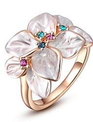 Love Gift For Women Classic Rose Gold Plated Flower Ring