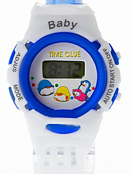 Kinderen LCD Cartoon ronde Dial plastic band Quartz Analoog Sport Watch (Random Style)