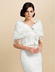 Elegant Faux Fur With Tassels Bride Wedding/Evening Shawl/Wrap