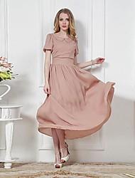 Damen Kleid Leger Midi Chiffon