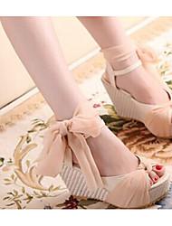 Zikafo New Summer Korean Style Womens Slipsole Peep-Toe Sandals Platform Shoes With Silk Ribbon Bowknot