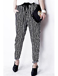 Women's Three Sizes Stripe Chiffon Harem  Pants