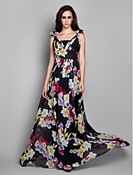 Sheath / Column V-neck Floor Length Chiffon Formal Evening Dress with Bow(s) Side Draping by TS Couture®