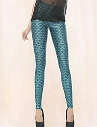 PinkQueen Women's Spandex Blue Mermaid Animal Print Leggings