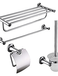 4-packed Stainless Steel Bath Accessories Set,Towel Bar/Bathroom Shelf /Paper Holder/Brush Holder
