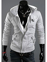 DJJM Men's Brushed Casual Hooded Sweater Coat