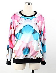 Women's O-neck Loose Casual 3D Pills Print Long Sleeve Sweatshirts