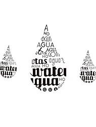 Createforlife ® Preto Teardrop Letras crianças berçário da parede da sala de adesivos de parede decalques de arte