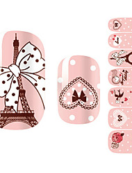 28PCS roses romantiques Paris design Nail Art Stickers