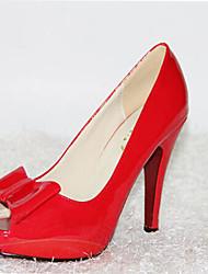 Red-goust Women's Korean Style Bow Peep Toe Heels Shoes