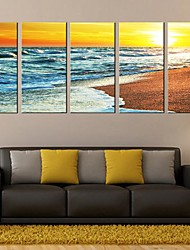 Stretched Canvas Art Landscape The Twilight of The Sea Set of 5
