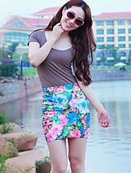 Women's Short Pencil Skirt Flower Print Mini Skirt