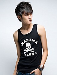 Men's Print Casual Tank Tops,Cotton Sleeveless-Black / White / Gray