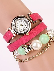 C&D 2014 New Women Dress Luxury Pearl Long Chain Rhinestone Leather Strap Watches XK-15