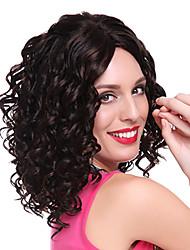 100% Kanekalon Capless Medium Curly Dark Brown No Band Synthetic Hair