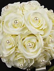 Satin / Cotton With Pearl Round Shape Wedding Bouquet