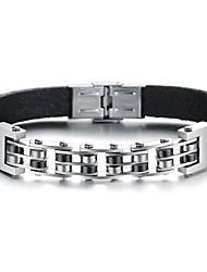 Freddo Idea d'acciaio di titanio di colore rock personalità Man braccialetto di cuoio