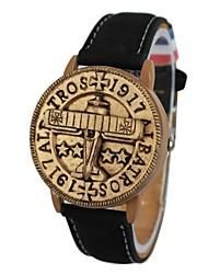 Unisex Plane Pattern Stamp Style Cover Leather Band Quartz Wrist Watch (Assorted Colors) Cool Watches Unique Watches