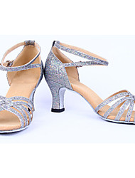 Shoes Show Women's Fashion Leather Arch Strap Chunky Heel Latin Dancing Shoes Heel 6CM(Silvery)