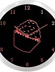 NC1000 arrosé magasin de petit gâteau Cuisine Neon Sign Horloge murale LED