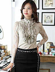 Women's Lace Loose Fit Ruffle Edge Chiffon Blouse