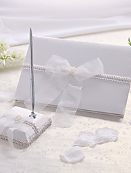 Guest Book / Pen Set Chiffon Classic ThemeWithBow / Faux Pearl Guest Book / Pen Set