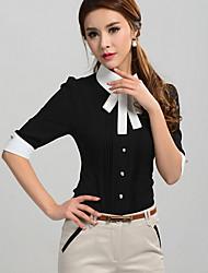 J & K Mulheres de manga curta Bodycon Joint Cor Blusa
