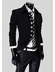 LangTuo Korean Simple Button Stand Collar Jacket(Black)